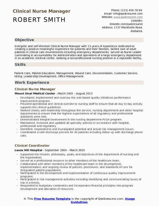 resume for nurse manager