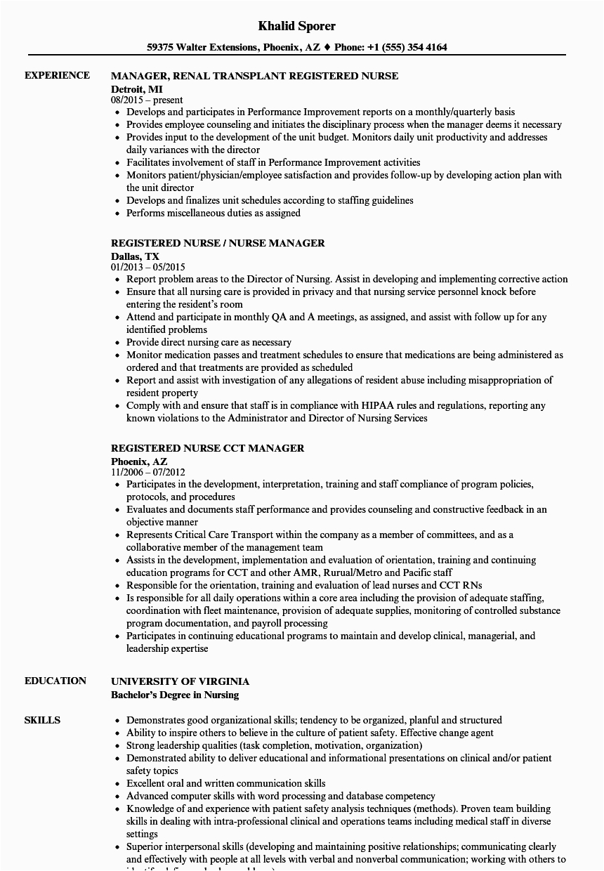 resume for nurse returning to workforce