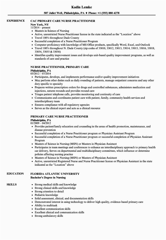 Sample Resume for Nurse Practitioner School Primary Care Nurse Practitioner Resume Samples