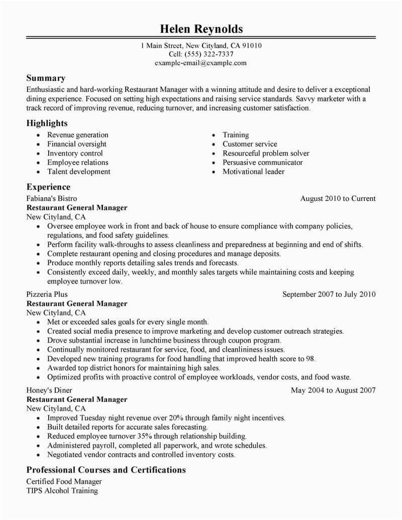 Sample Resume for Restaurant Manager Position Best Restaurant Manager Resume Example