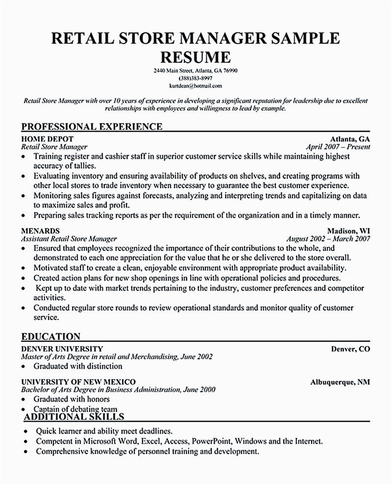 Sample Resume for Retail Management Position Retail Manager Resume Examples Retail Manager Resume is