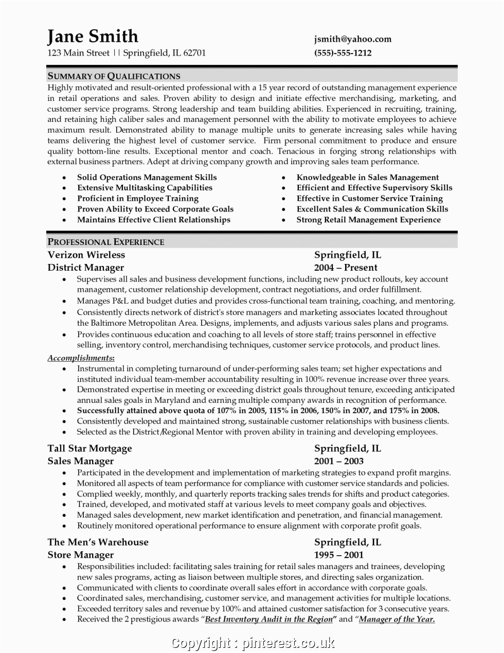 simple retail district manager resume sample