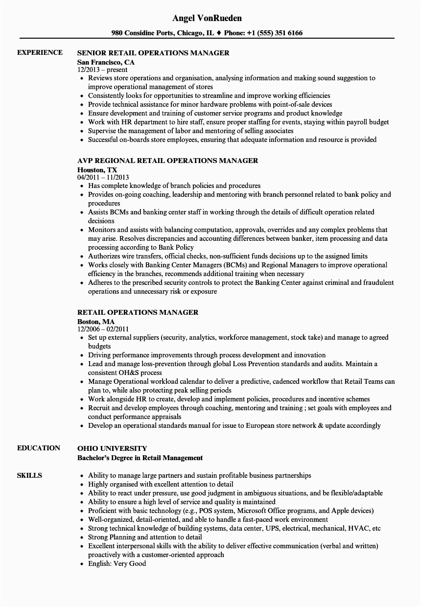 Sample Resume for Retail Operations Manager Retail Operations Manager Resume Templates • Business
