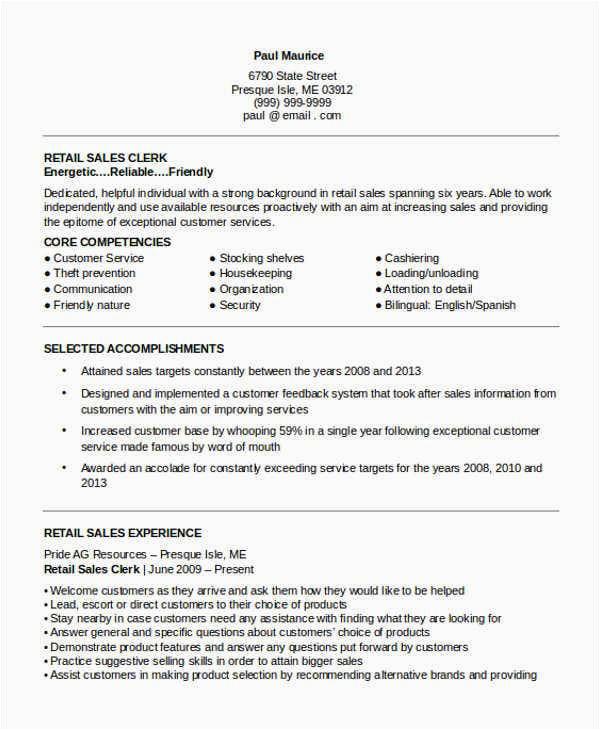 sample retail sales resume