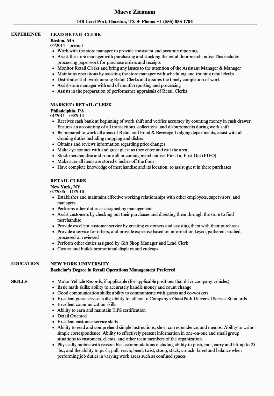 retail clerk resume sample