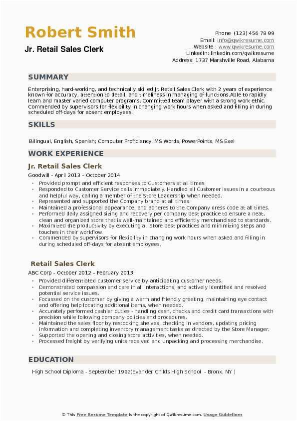Sample Resume for Retail Sales Clerk Retail Sales Clerk Resume Samples