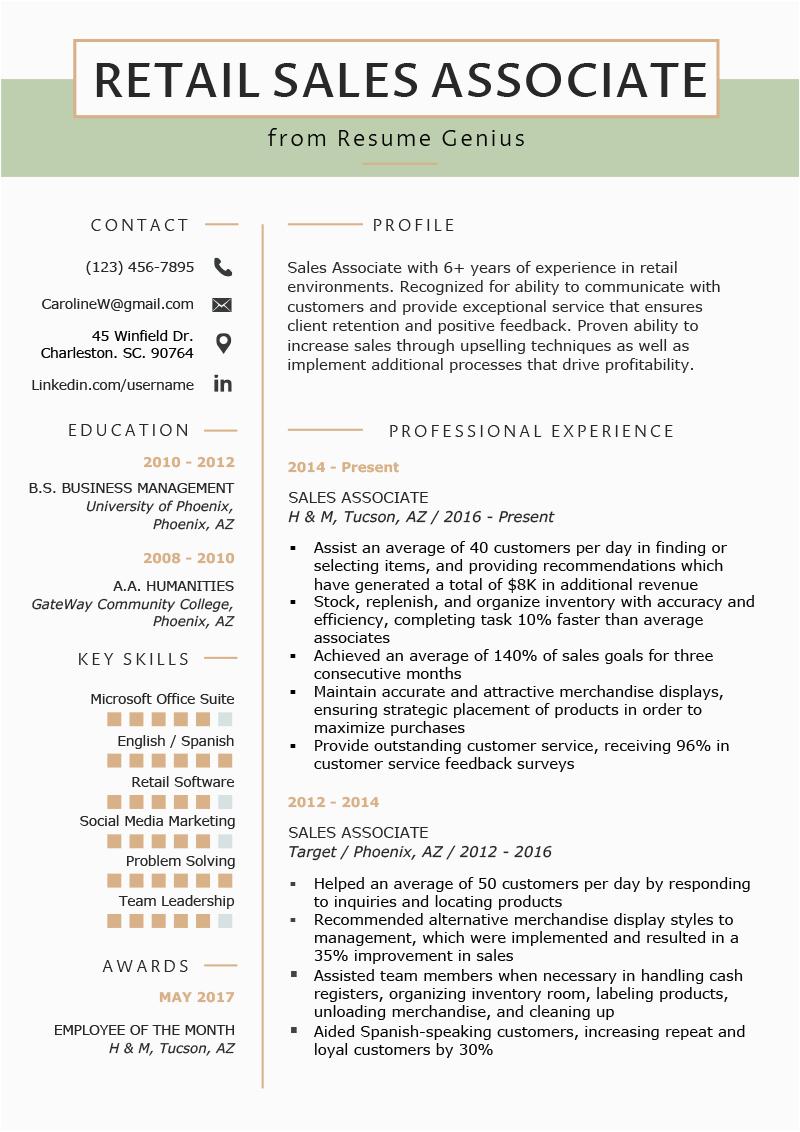 Sample Resume for Retail Store associate Retail Sales associate Resume Sample & Writing Tips