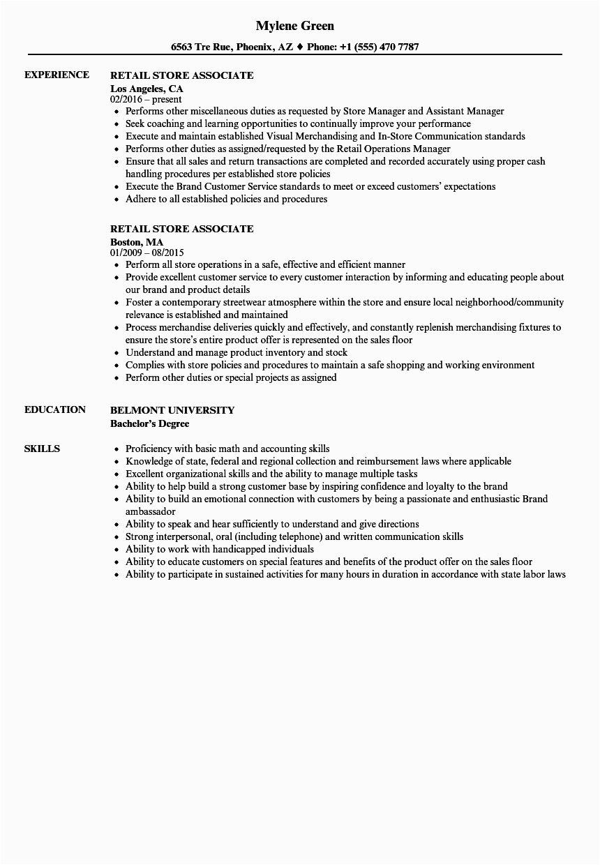 retail store associate resume sample