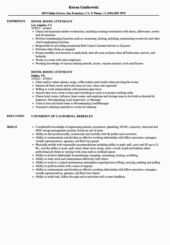 hotel room attendant resume sample