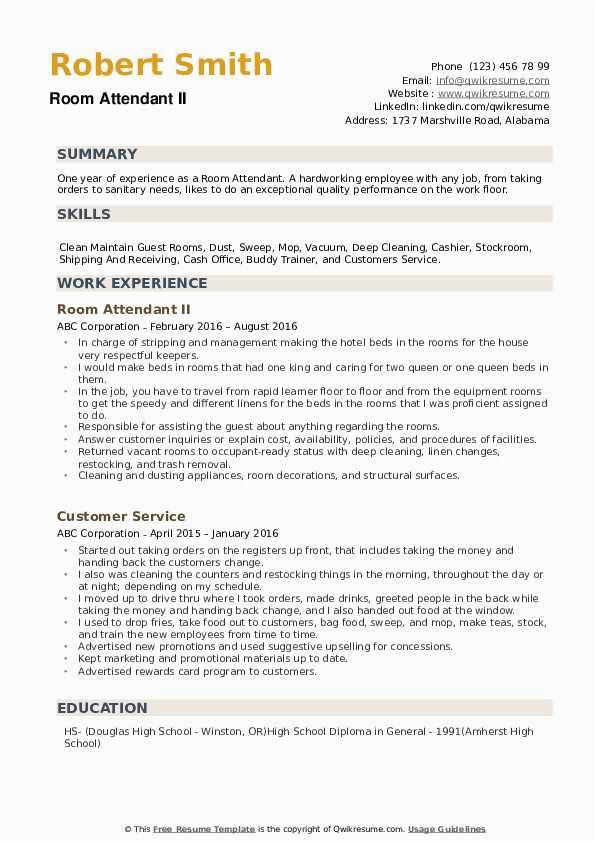 Sample Resume for Room Service attendant Room attendant Resume Samples