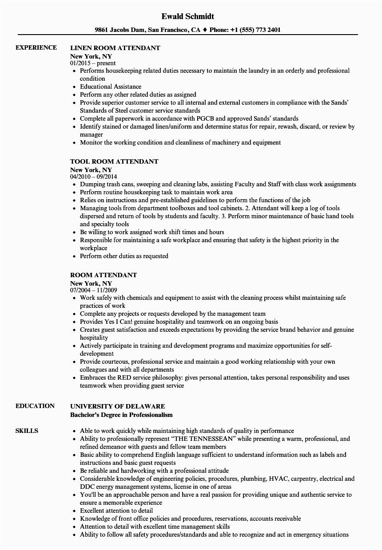 room attendant resume sample