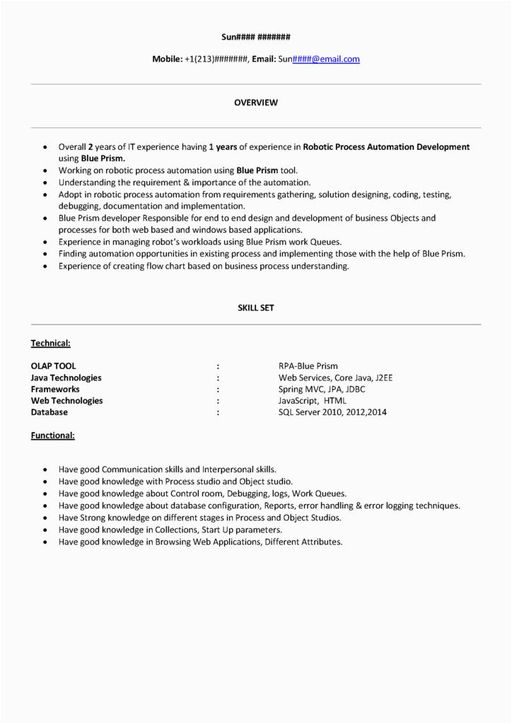 Sample Resume for Rpa Blue Prism Developer Rpa Blueprism Sample Resume Free Download Product