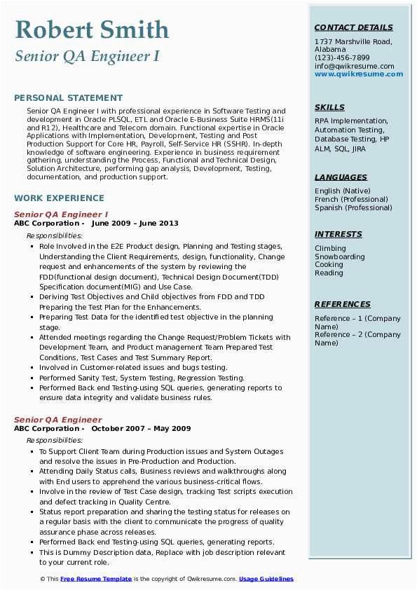 senior rpa developer resume
