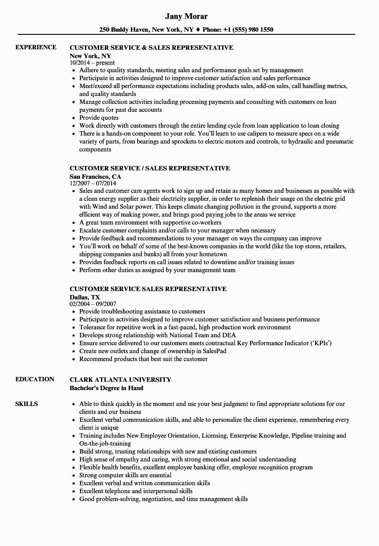 customer service sales representative resume sample