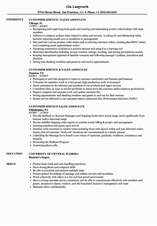 customer service sales associate resume sample