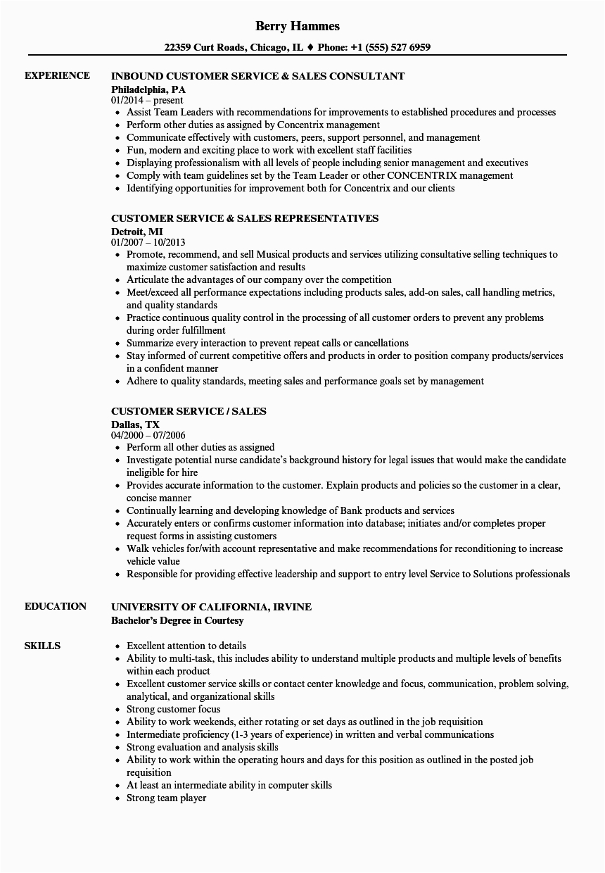 Sample Resume for Sales and Customer Service Resume Builder Sales 5000 Free Professional Resume