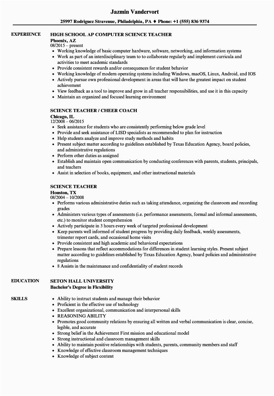 professional resume examples teacher