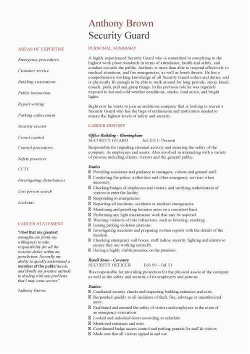 sample resume for security guard