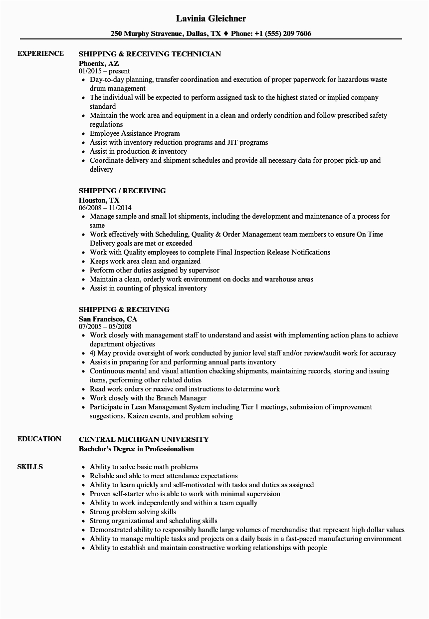 packing and shipping experience resume