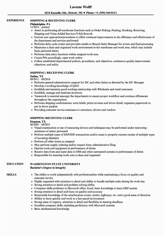 shipping receiving clerk resume sample