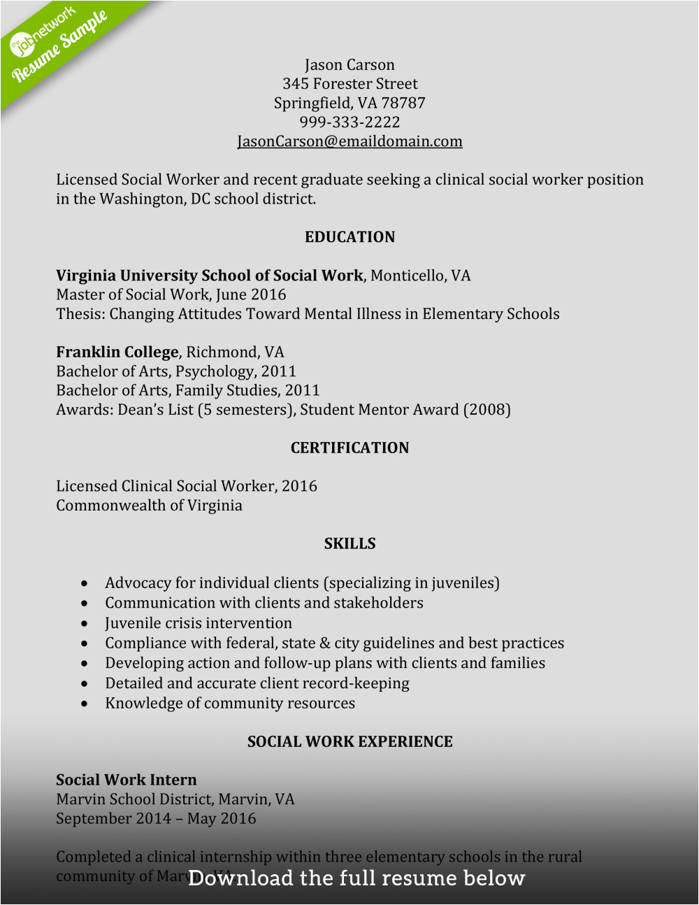 write perfect social worker resume