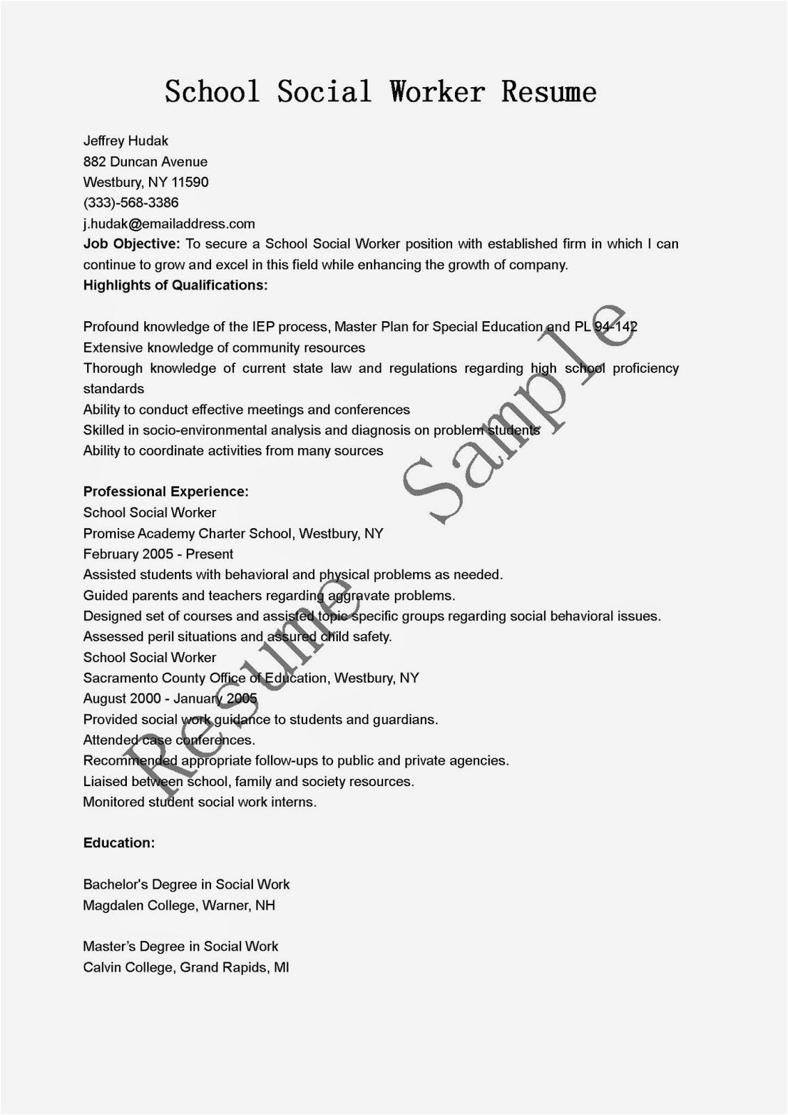 school social worker resume sample