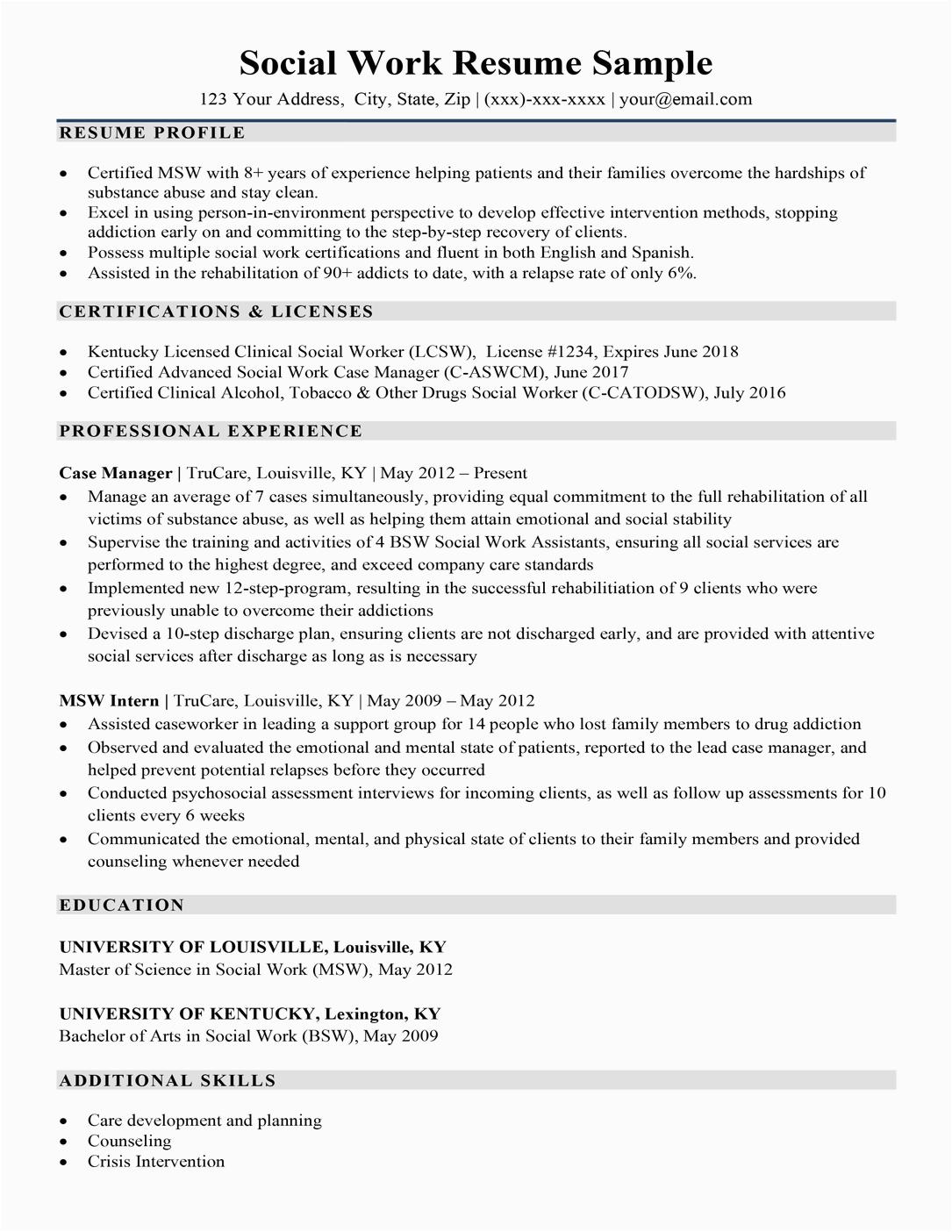 social work resume sample