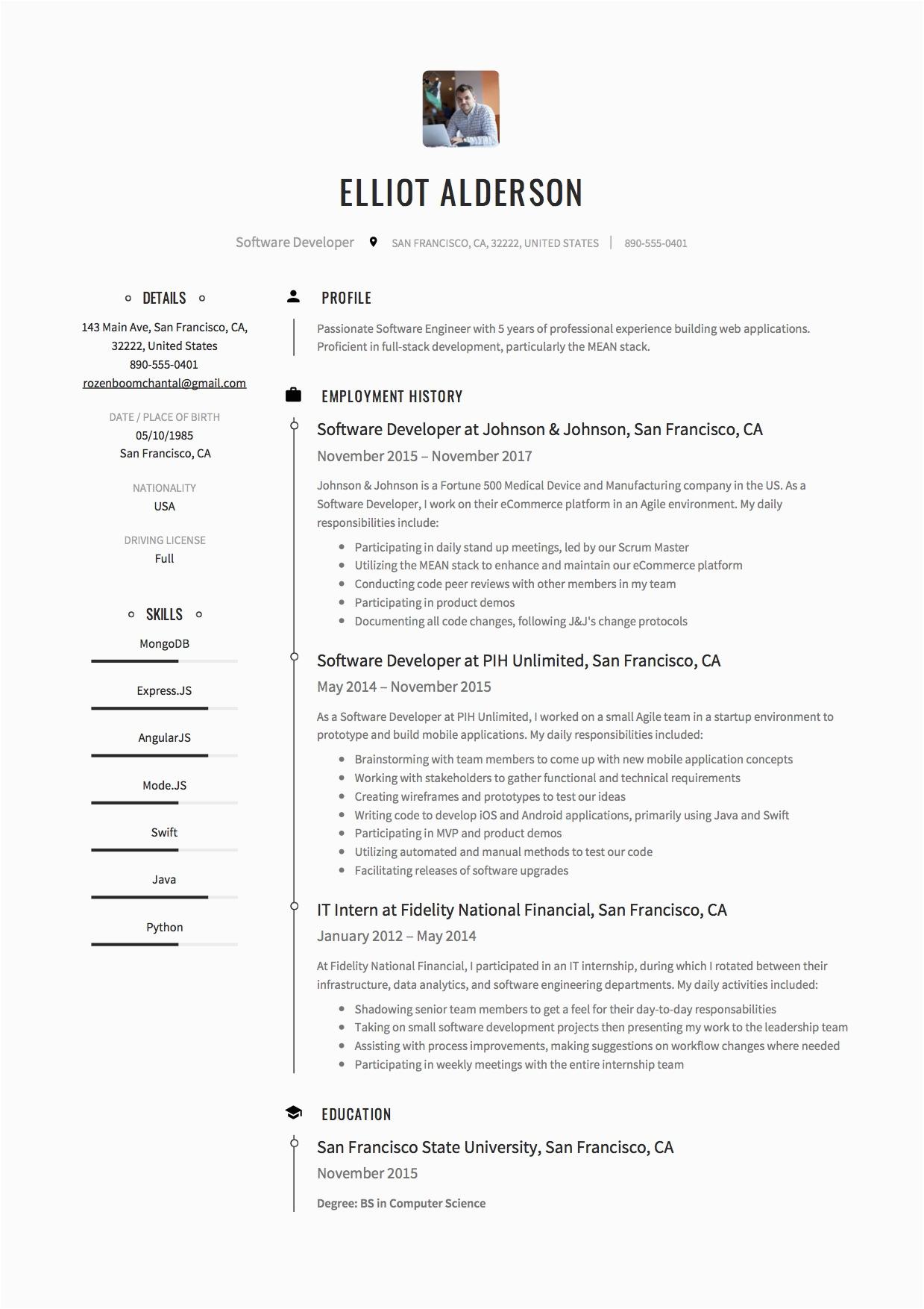resume for freshers software enginer