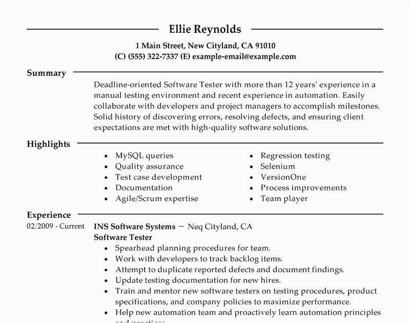 software test engineer resume 4 years