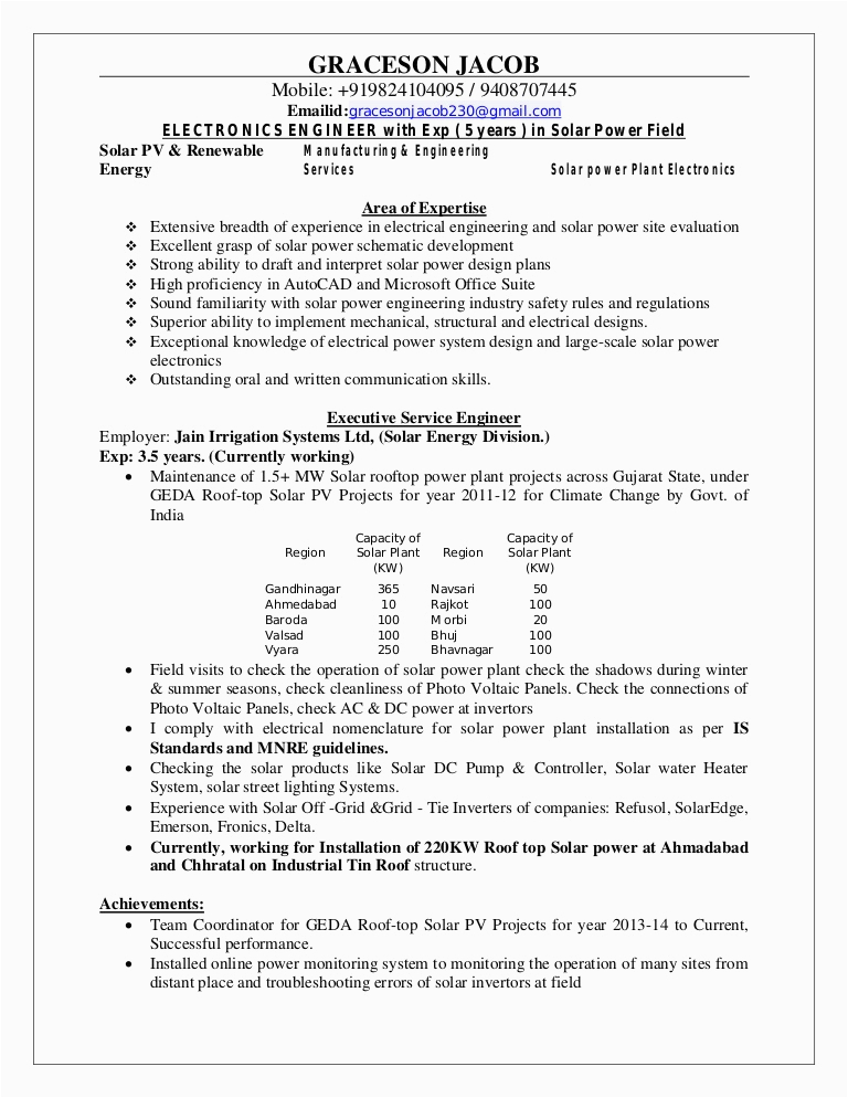 Sample Resume for solar Engineer Pdf Resume Graceson Cv solar Pdf