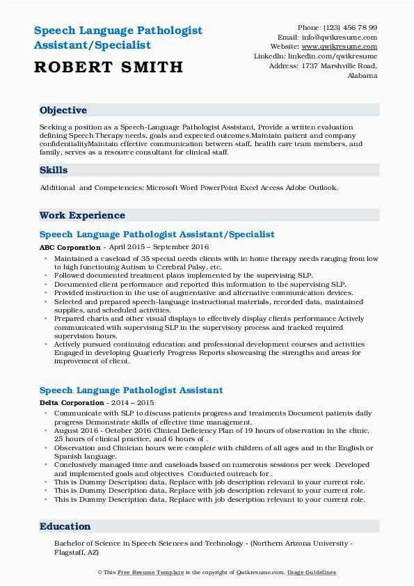 speech language pathologist assistant