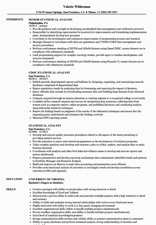statistical analyst resume sample
