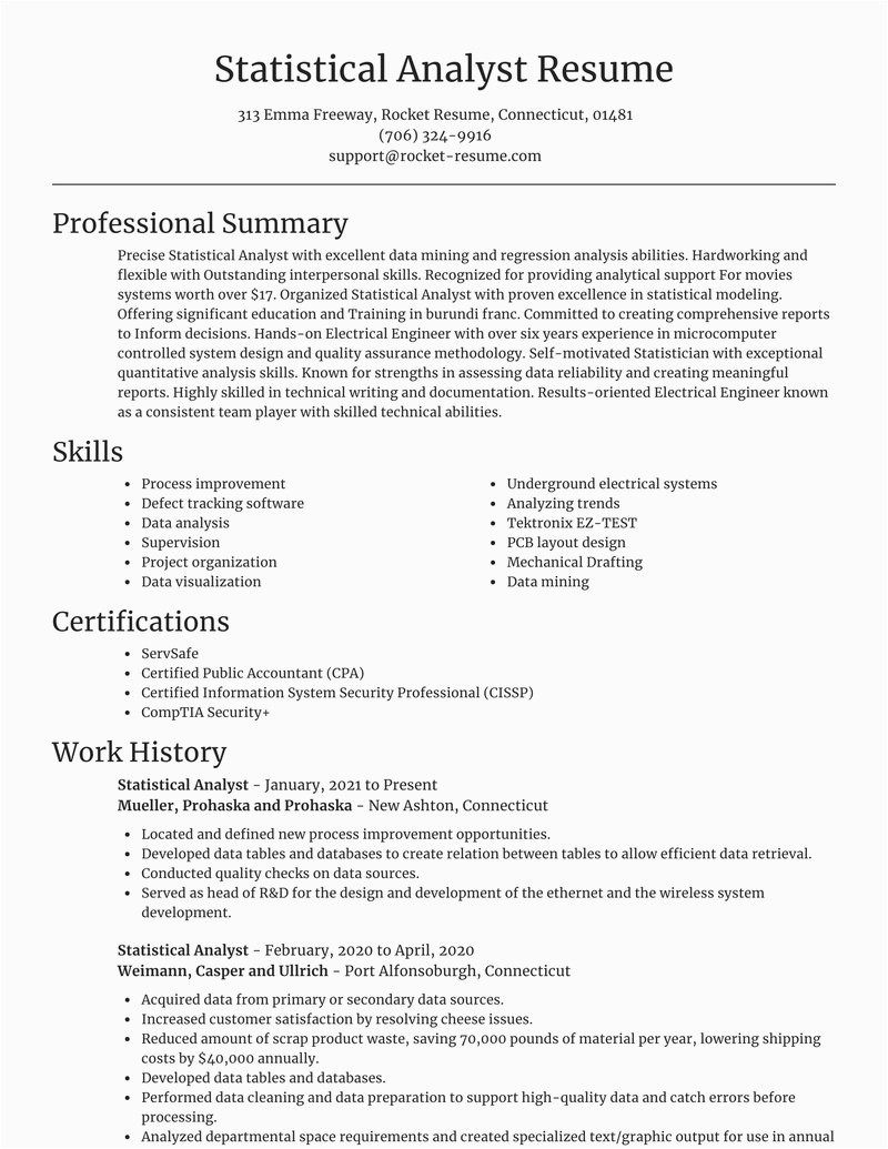 Sample Resume for Statistical Data Analyst Statistical Analyst Resumes