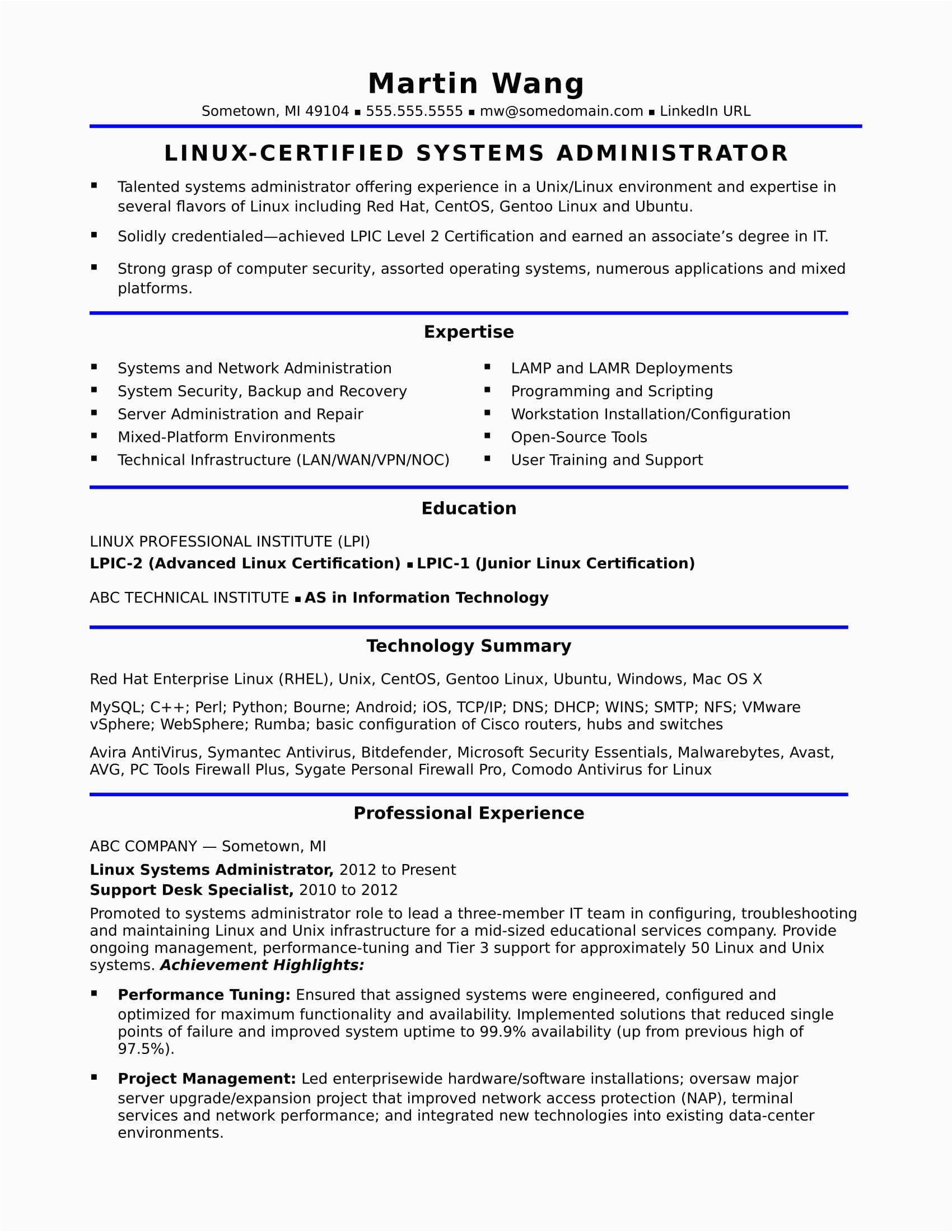 Sample Resume for System Administrator Fresher Sample Resume for A Midlevel Systems Administrator