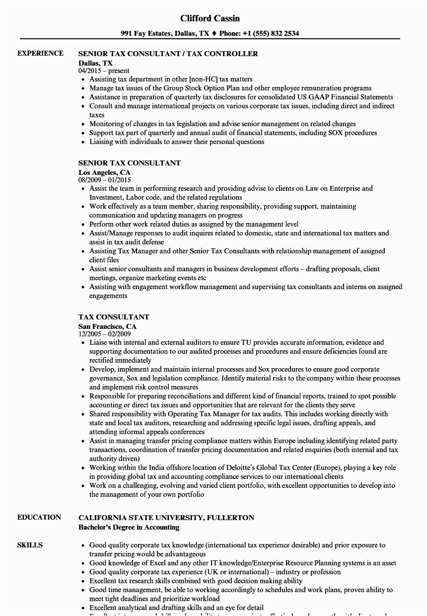 Sample Resume for Tax Consultant In India Tax Consultant Cv Template Choice Image Certificate