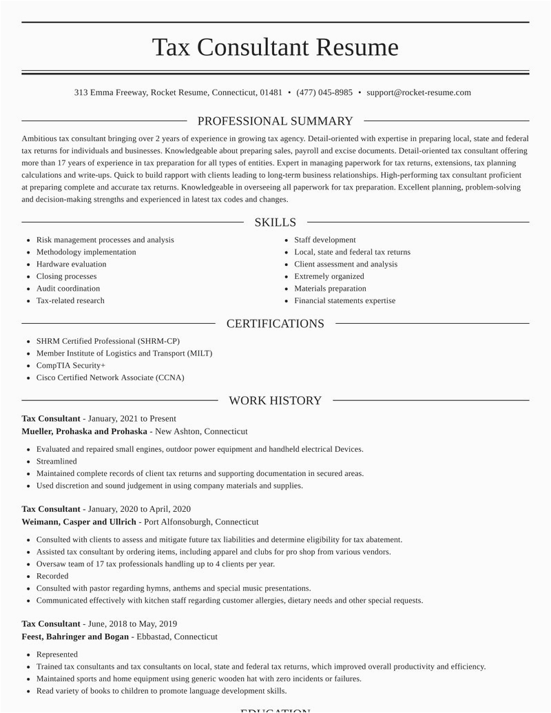 tax consultant profession resumes templates and examples