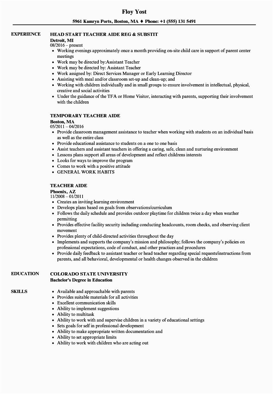 teacher aide resume sample