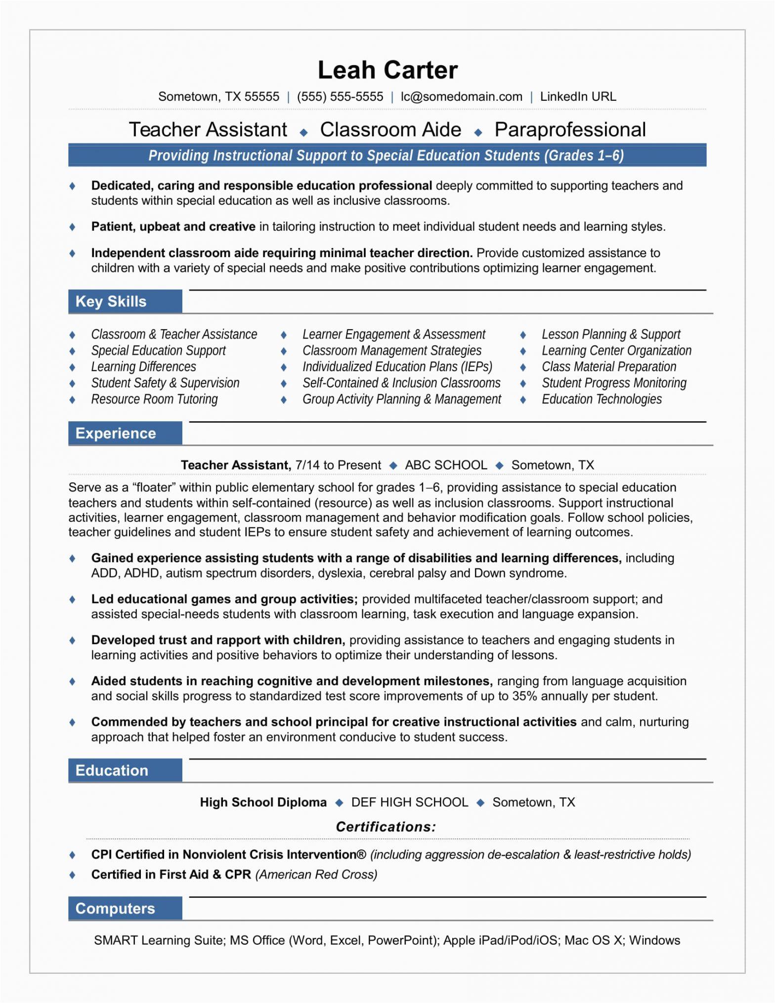 Sample Resume for Teacher Aide Position Teacher assistant Resume Sample
