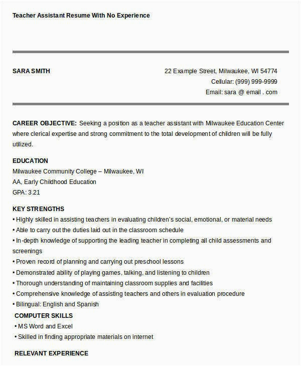 Sample Resume for Teacher assistant with No Experience Free Teacher Resume 40 Free Word Pdf Documents