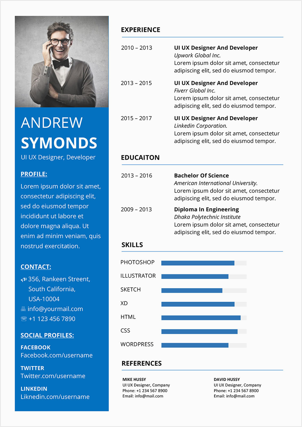 free modern resume template word docx format