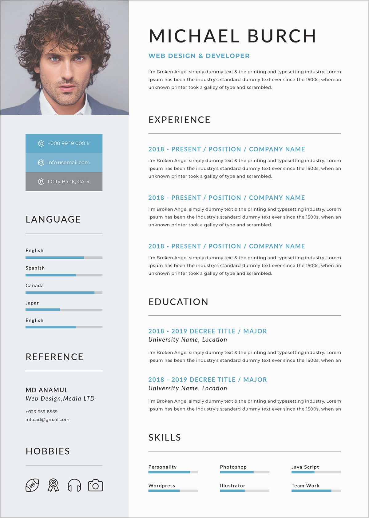 Sample Resume format Doc File Download Free Professional Resume Template In Doc Psd & Ai format