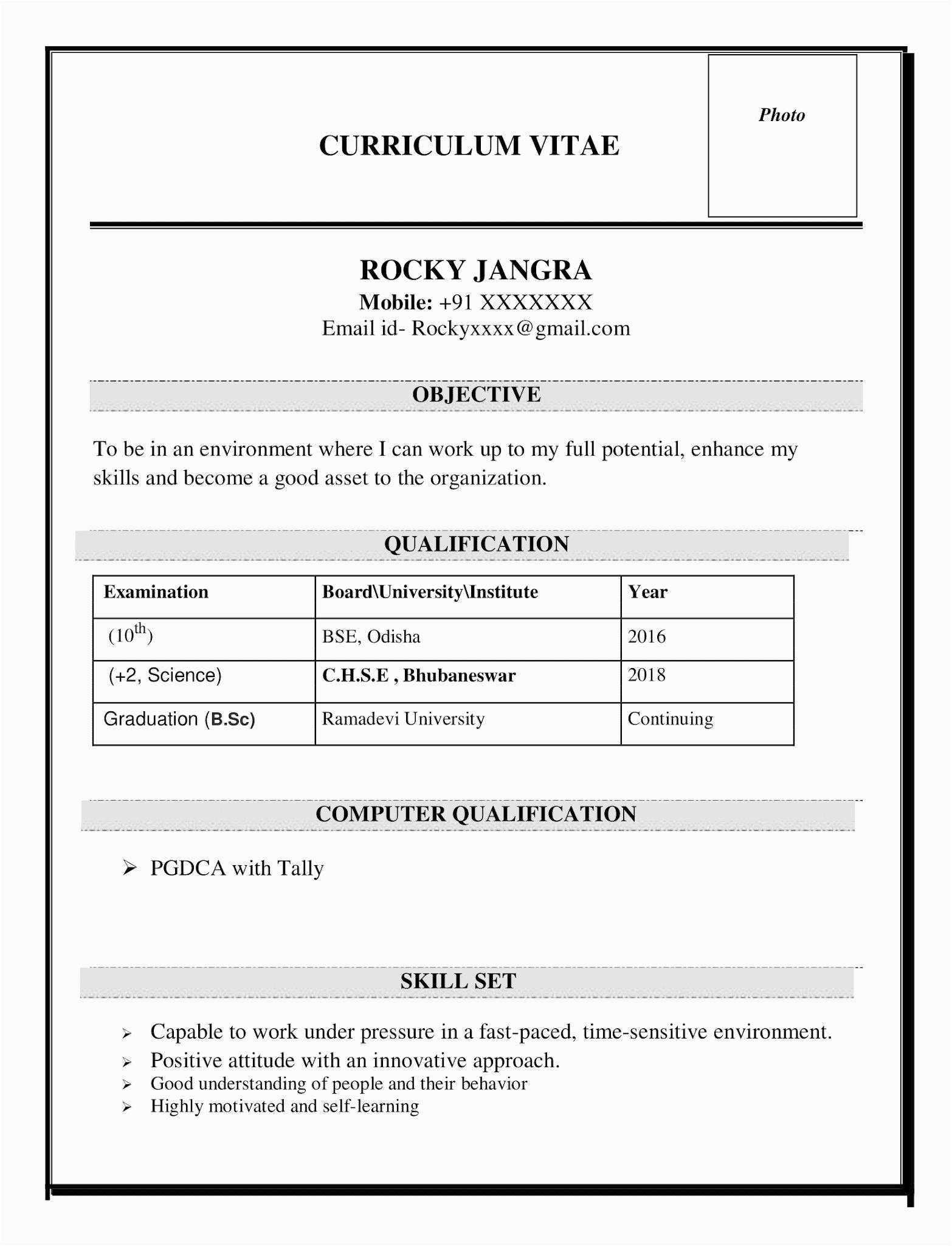 cv resume template ms word format