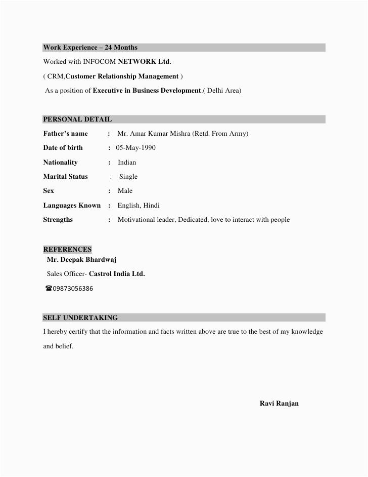 simple resume format for 12th pass student