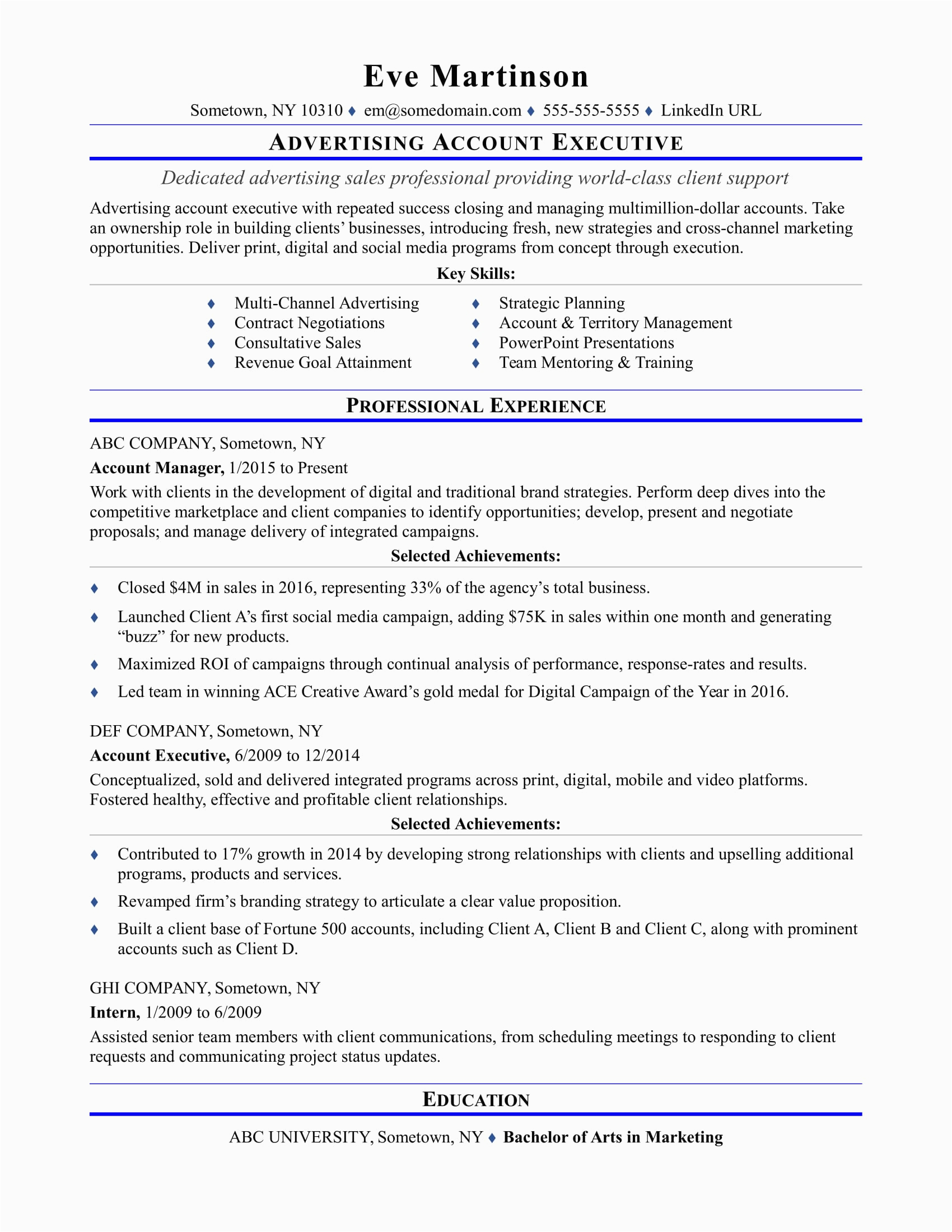 Sample Resume format for Accounts Executive Sample Resume for An Advertising Account Executive