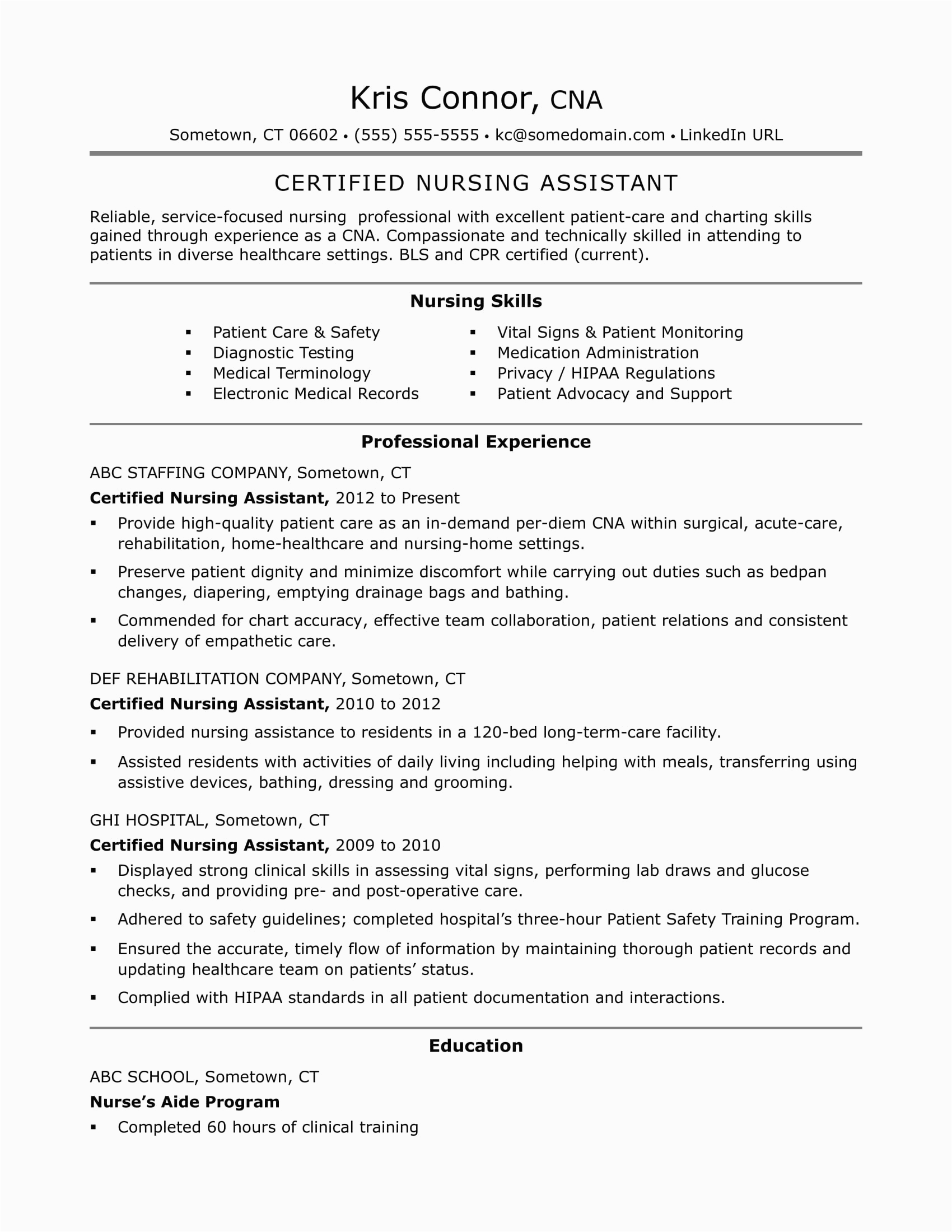 nursing assistant objective examples