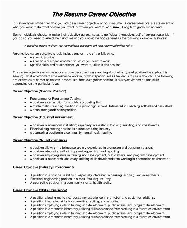 Sample Resume Objectives for On the Job Training Free 9 Sample Resume Objective Templates In Pdf