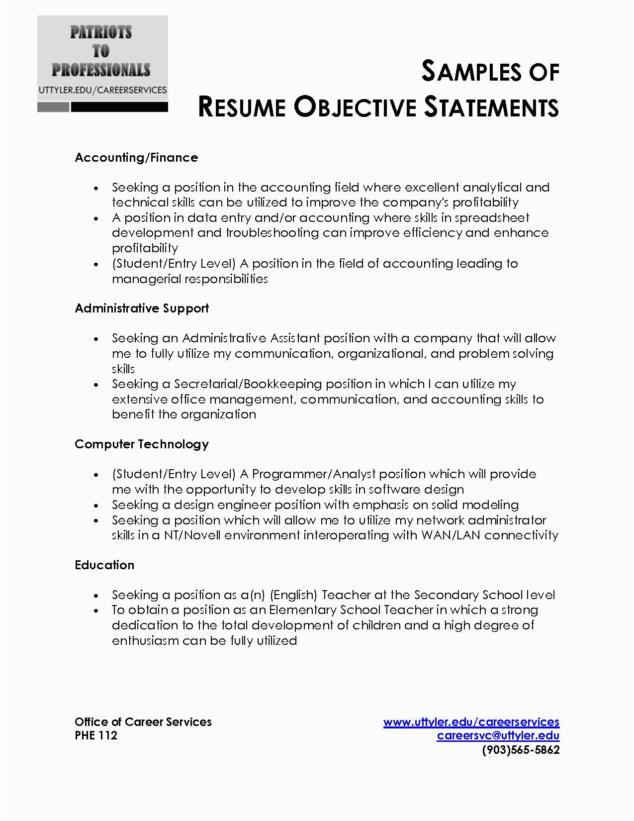 resume objective statement 2603