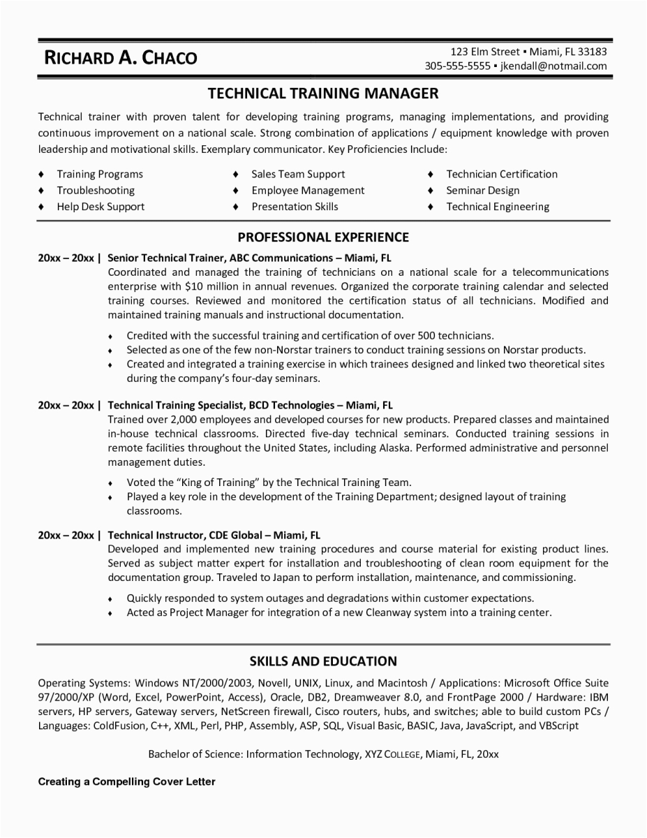 training manager resume