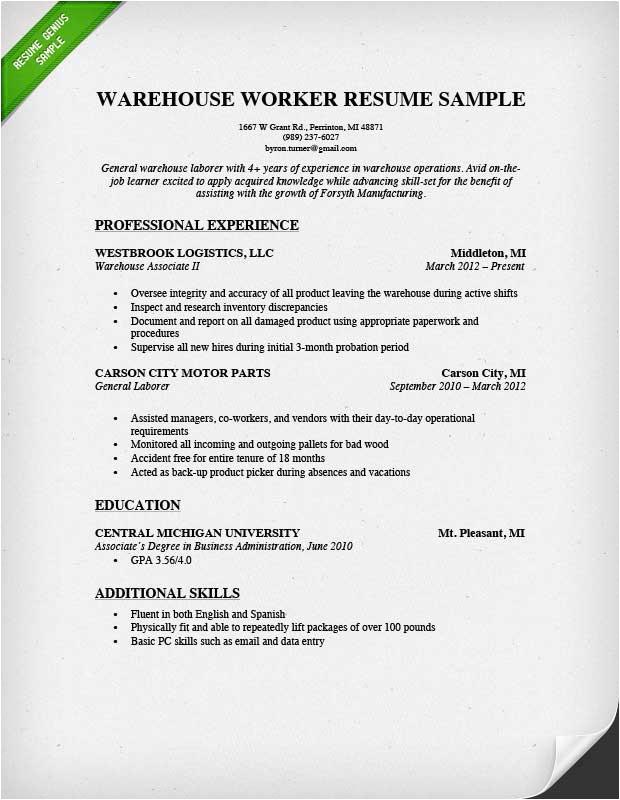 Sample Resume Objectives for Warehouse Position Warehouse Worker Resume Sample