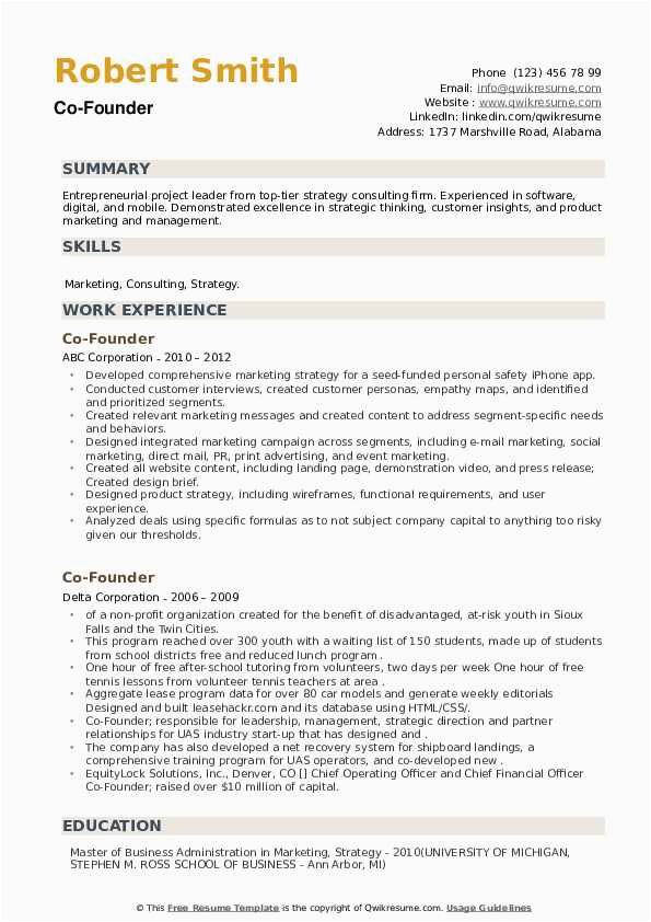 Sample Resume Of A Co Founder Co Founder Resume Samples
